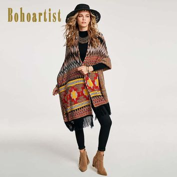 Women Long Cape Autumn Patchwork Gray Geometric Pattern Tassel Up Indie Folk Wrapped shawl Lady Scarf Capes