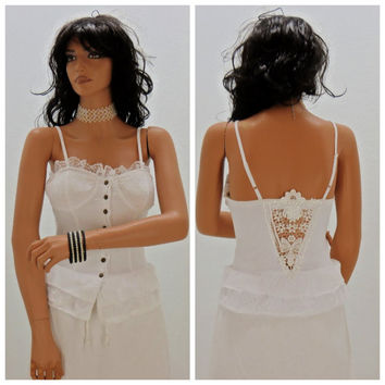 White lace corset top, size S, Grifflen Paris, bohemian lace, cotton camisole, bustier, peek a boo back, body con, Sunny Boho