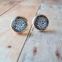 W I L D - Black and White Animal Print Tiger Leopard Wild Safari Photo Glass Cab Circle Silver Post Earrings
