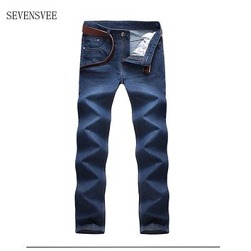 Jeans Man Middle-aged Denim Jeans Casual Middle Waist Loose Long Pants Male Solid Straight Jeans For Men Classical Size 40