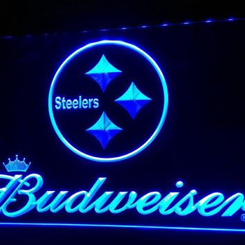 LS425-b- Pittsburgh Steelers Budweiser 3D LED Neon Light Sign Customize on Demand 8 colors to choose