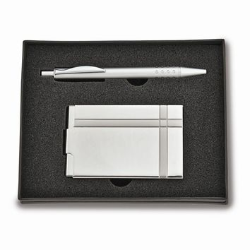 Pen and Business Card Holder Set - Engravable Personalized Gift Item