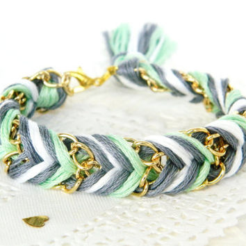 Clouded Mint - Slate Grey, Pearl & Mint - Chevron Braided Modern Friendship Bracelet - Gold Chain