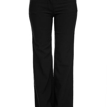 Women's Solid Millennium Sleek Office Bengaline Pants Trousers