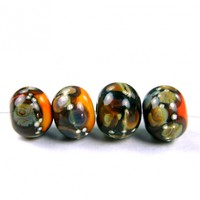 Opaque Apricot Handmade Lampwork Glass Beads With Raku Frit fb419 Shiny (Choices of Etched, .999 Fine Silver, Shapes, Sizes, Large Hole Beads Extra)