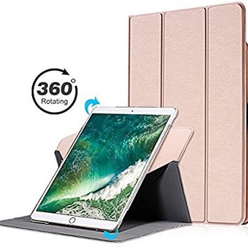 Valkit New iPad Pro 12.9 Cover, iPad Pro 12.9 Case, 360 Rotating Stand Smart Protective Swivel Case Cover for Apple iPad Pro 12.9 both 2017 and 2015 with Apple Pencil Holder, Rose Gold
