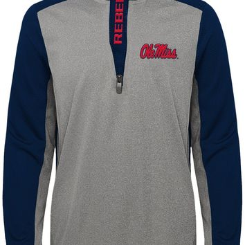 Ole Miss Rebels Long Sleeve Boys Shirt 1/4 Zip Top with Pockets Youth XL 18