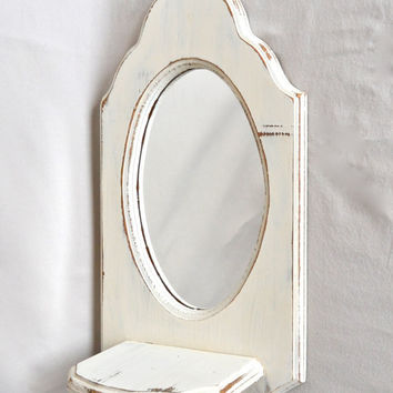 ON SALE Vintage White Distressed Shabby Chic Oval Mirror With Shelf