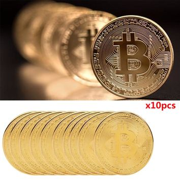 10x Gold Plated Bitcoin Coin Collectible Gift BTC Coin Art Collection Physical