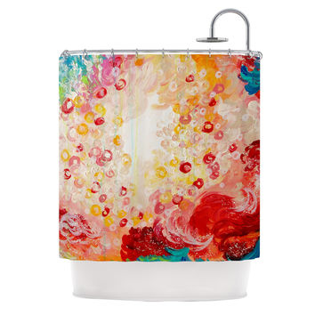 "Ebi Emporium ""Summer Days"" Red Tan Shower Curtain"