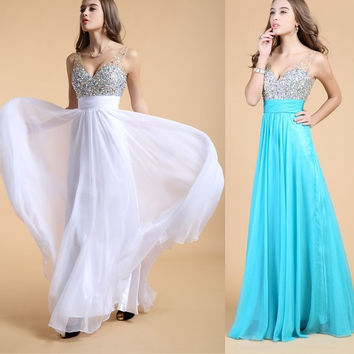 Brand New Handmade sequin evening dress 2014 new shine crystal rhinestones evening party dresses Corset-style Crystal Evening Party Prom Dress = 5738954305