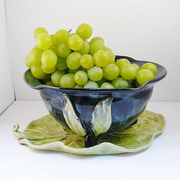 MADE TO ORDER Ceramic Berry Bowl on Leaf Tray by BlueSkyPotteryCO