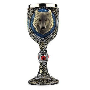 Stainless Steel  Wolf Vintage Cute Drinking Wine Glasses Champagne Cocktail Glass Goblets