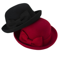 Free Shipping 2017 New Fashion  Black Red Big Bow Wool Felt Bowler Hat For Women Lady Party