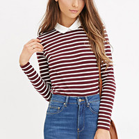 Contrast Collar Striped Shirt