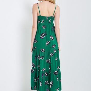Leaf Floral Spaghetti Strap Maxi Dress