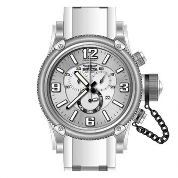 Invicta 11365 Men's Russian Diver Chronograph Silver Tone Dial White Rubber Strap Stainless Steel Dive Watch