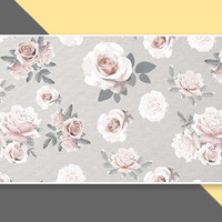 Rustic Floral Pattern - Large White Magnetic Makeup Palette with Mirror Z
