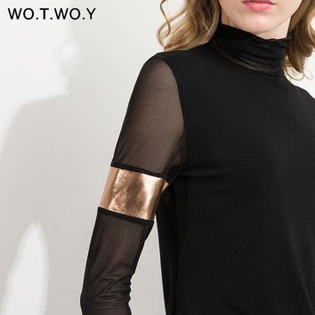 WOTWOY Autumn Black Mesh Tops Women T-shirt Long Sleeve Cotton Turtleneck Leather Patchwork Tops Tee Shirt Femme Soft Slim Fit