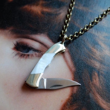 Miniature Pocket Knife Necklace- White Mother of Pearl