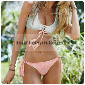 Swimsuit Bathing Suit white Geometric printing concise Swimwear bandage Bikini Set Swimwear Women Biquini N143 CF