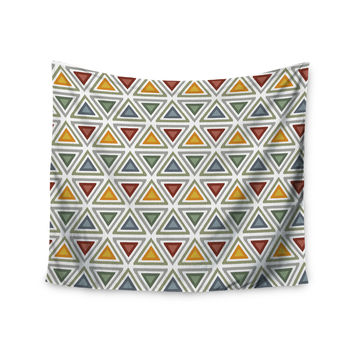"Julia Grifol ""Ikat Triangles"" Multicolor Wall Tapestry"