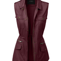 LE3NO Womens Sleeveless Military Anorak Jacket Vest with Pockets (CLEARANCE)