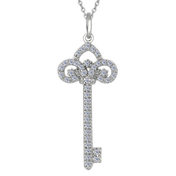 Sterling Silver Rhodium Plated Finish Fleur De Lis  Key Necklace With CZ - 18 Inch