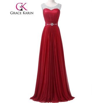 Grace Karin Prom Dress Long 2017 Dark Red Sequined Beading Evening Gowns Sexy O Neck Ballkleider Lang Vestidos Party Prom Dress