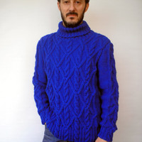 Royal Blue Cabled Men Sweater Hand Knit Wool Sweater Men Fashion Sweater NEW