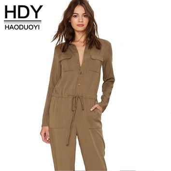 HDY haoduoyi Office Lady Fashion Women Jumpsuit Solid Brown Turn Down Collar Jumpsuits Long Sleeve Single Breasted Slim Jumpsuit