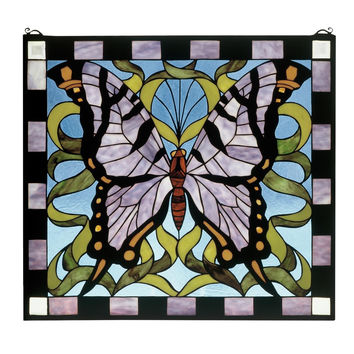 25 Inch W X 23 Inch H Butterfly Stained Glass Window