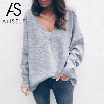 2018 Autumn Winter Christmas Sweater Women Knitted Sweater Deep V Neckline Long Sleeve Pullover Female Loose Casual Jumpers Lady