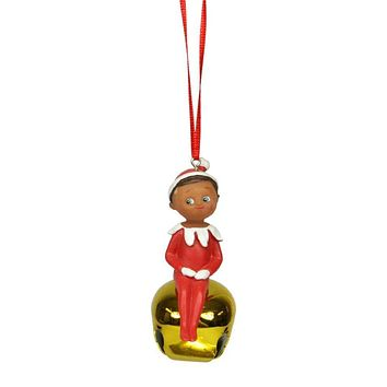"3"" Elf on the Shelf Sitting Boy Gold Jingle Buddies Christmas Ornament"