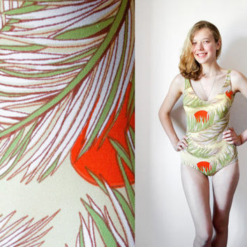 Tropical Bombshell Swimsuit / 1970's German GDR OnePiece Pastel Swimming Suit / Open Back Bathing Suit w Removable Bullet Cups/ SMALL UK8-10