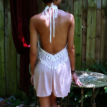 Bohemian Silk Knit Backless Baby Doll Nightgown Peacock Fringe Lace Bridal Lingerie Honeymoon Sleepwear