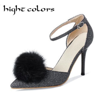Female Hair Ball button Pointed Toe High-Heeled Sandal Thin Heels Shoes Women Pumps Fashion Sexy Paillette Women's Wedding Shoes