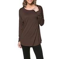 Women Boat Neck Solid Dolman Long Sleeve Tunic Loose Dress Top