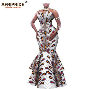 african print maxi dress for women AFRIPRIDE tailor made strapless mermaid women cotton formal dress 2 layers hem A1825068