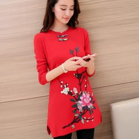 Fall 2016 new qipao han edition dress long embroidered peony long-sleeved sweater in women's sweaters