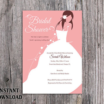 DIY Bridal Shower Invitation Template Editable Word File Instant Download Printable  Invitation Bride Invitation Modern Chic  Bridal Shower Invitations Template
