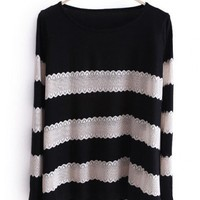 Women New Style Autumn Sweet Cute Stripe Scoop Long Sleeve A Line Black Knitting Sweater Cardigans One Size@WXM963b $18.66 only in eFexcity.com.