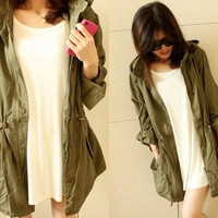 Womens Hooded Drawstring Army Green Military Jacket Trench Parka Coat = 1930349444