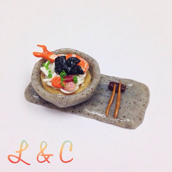 Polymer Clay Food, Miniature Seafood Udon, clay noodle, fake food charm, mini food, dollhouse miniature food, unique gift, clay collectible