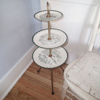 3 tiered cake stand 3 tier serving tray Royal China Countryside, Farmhouse Country, harvest time.