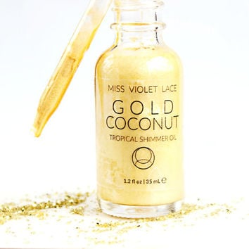 Coconut Shimmer Oil | Gold Shimmer Body Oil | Natural + vegan - TRAVEL SIZE