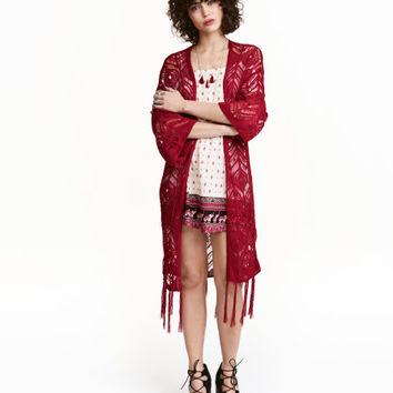 Fringed Lace-knit Cardigan - from H&M