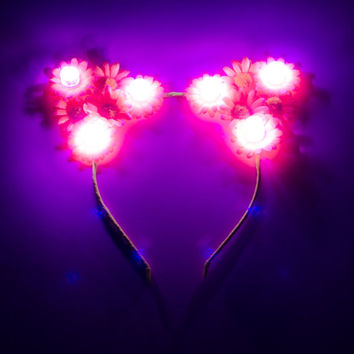 Customizable Pink LED Cat Ear Headband, Floral Cat Ears, LED Flower Crown, Coachella, Electric Daisy Carnival, Escape Music Festival, Ezoo