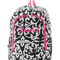 Monogrammed Backpack  Personalized Black and Pink Damask Backpack