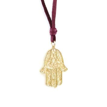 Large Hamsa Lace Outline Charm Wine Deerskin Beaded Leather Necklace